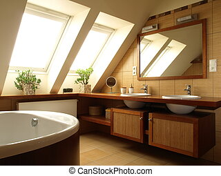 Bathroom - Interior of modern bathroom with huge mirror