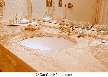 Bathroom interior - Luxury bathroom interior in beige tones