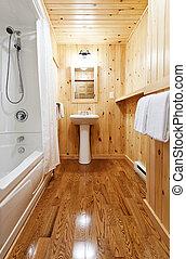 Bathroom interior - Washroom interior with pine wood wall...