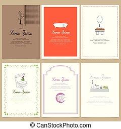 bathroom interior, square cards illustration templates. design for event cards