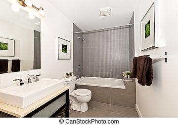 Bathroom interior - Interior three piece bathroom - artwork...