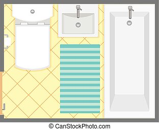 Bathroom interior top view vector illustration. Floor plan of restroom. Flat design.