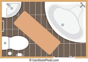 Bathroom interior top view vector illustration. Floor plan of toilet room. Flat design.