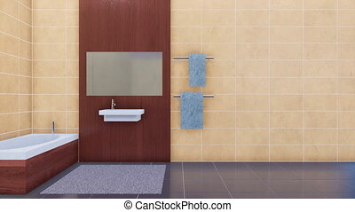 Bathroom interior with copy space beige tiles wall - Modern...