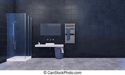 Bathroom interior with copy space dark tiled wall - Modern...