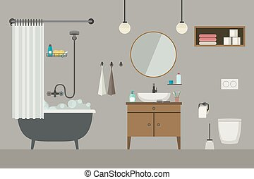 Bathroom interior with furniture.