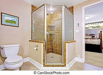 Bathroom interior with screened shower