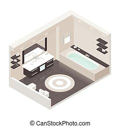 Bathroom isometric detailed set