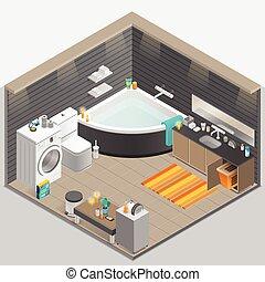 Bathroom Isometric Illustration - Bathroom with candles bath...