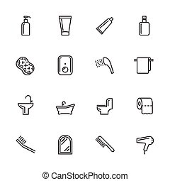 Bathroom Lines Icons. Vector outline icon.