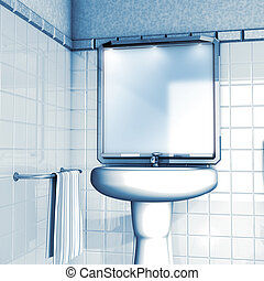 Bathroom mirror and sink - 3d illustration render, Bathroom...