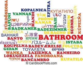 Bathroom multilanguage wordcloud background concept