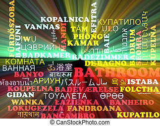 Bathroom multilanguage wordcloud background concept glowing