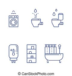 Bathroom objects, bath curtains, toilet and bidet, water heater tank, washing machine, vector line icon set