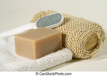 bathroom objects - soap and sponge
