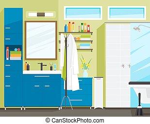 Bathroom or toilet room interior