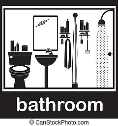 bathroom pictogram over white background vector illustration...