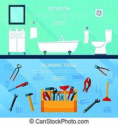 Bathroom Plumbing Banners Set