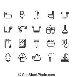 Bathroom related icon set. Vector illustration