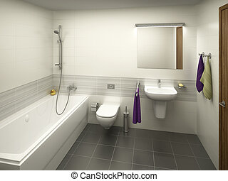 Rendering of a modern light colored bathroom
