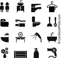 Bathroom , Restroom, Toilet icon set Vector