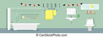 Bathroom (Rooms) - vector illustration of a bathroom.