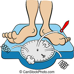 bathroom scale collapses under weight - vector illustration...
