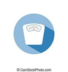Bathroom scale color icon with shadow on a blue circle