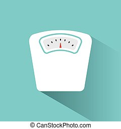 Bathroom scale color icon with shadow on a green background