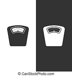Bathroom scale icon on a white and black background
