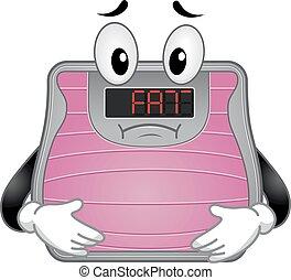 Bathroom Scale Mascot Fat Illustration