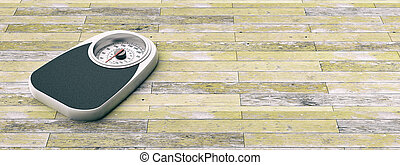 Bathroom scale on an old wooden floor background. Copyspace for text. 3d illustration