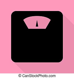 Bathroom scale sign. Black icon with flat style shadow path on pink background.