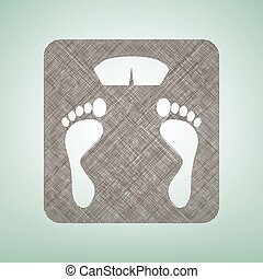 Bathroom scale sign. Vector. Brown flax icon on green background with light spot at the center.