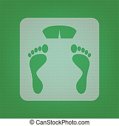 Bathroom scale sign. white icon on the green knitwear or woolen