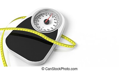 Bathroom scale with measuring tape, isolated on white ...