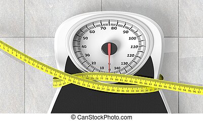 Bathroom scale with measuring tape squeezing it, closeup on...