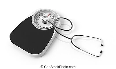 Bathroom scale with stethoscope, isoalted on white background.
