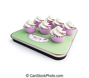 bathroom scale with the cupcakes
