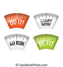 Bathroom scales displaying messages
