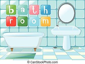 Bathroom scene with wording illustration
