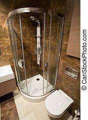 Bathroom shower - Vertical view of shower designed in dark ...