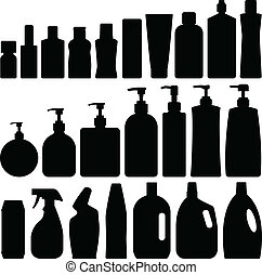 Bathroom Silhouette Set Vector - Bathroom Silhouette Set in...