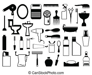 bathroom., silhuetter, vektor, emnerne, illustration