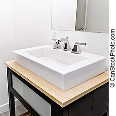 Bathroom sink - Closeup interior of bathroom vanity and...