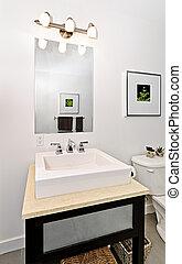 Bathroom sink - Interior bathroom vanity and mirror - ...
