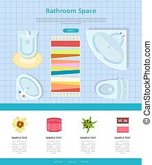 Bathroom Space Interior Design Vector Illustration