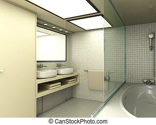 Bathroom - 3D rendered Illustration. Modern Bathroom...