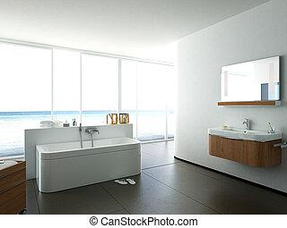 bathroom in an apartment, 3d rendering