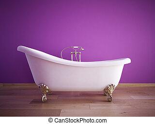 bathroom - bathtube with purple wall